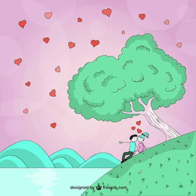 Desenho Namorados Romantico Vetor Gratis