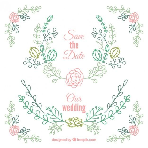 Desenho ornamentos de casamento florais com cactus Vetor grátis