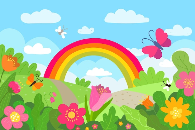 Desenho paisagem de primavera com arco-íris Vetor grátis