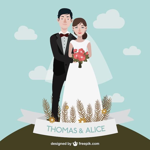 Desenho par bonito do casamento Vetor grátis