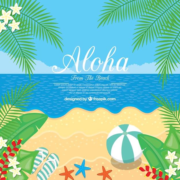 Desenho plano aloha beach background Vetor grátis