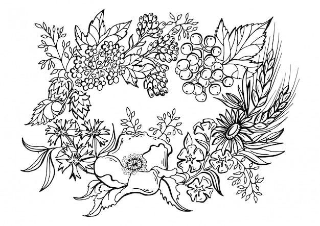 Desenho Preto E Branco De Uma Coroa De Flores Vetor Premium