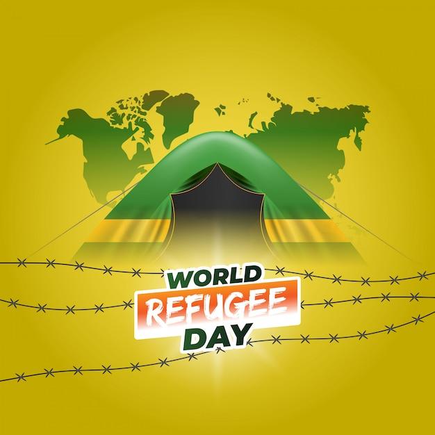 Desenho realista do dia mundial dos refugiados. Vetor grátis