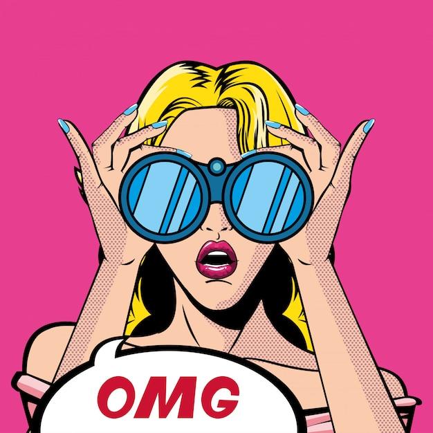 Desenho retrô de mulher loira com binóculos e vetor de bolha omg Vetor Premium