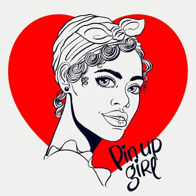 Desenho sorridente atraente garota africana no estilo pin-up Vetor Premium