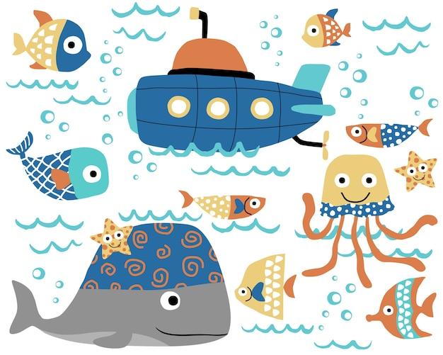 Desenho vetorial de animais marinhos com submarino Vetor Premium