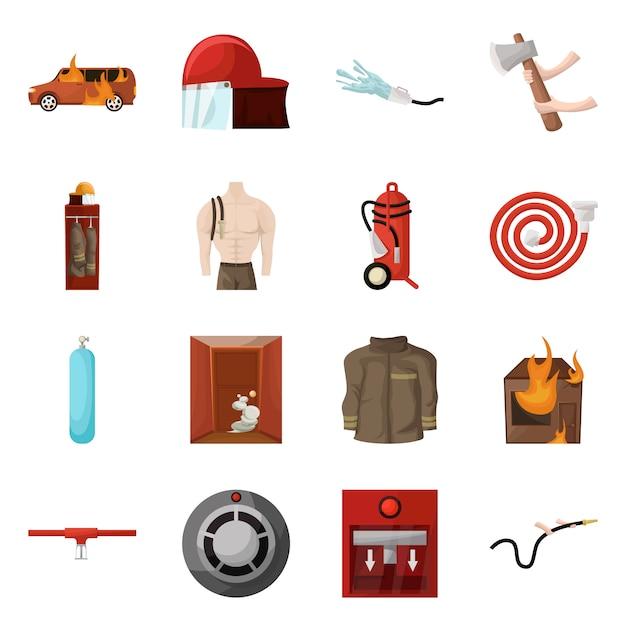 Desenho vetorial de bombeiros e símbolo de fogo. coleção de bombeiros e conjunto de equipamentos Vetor Premium