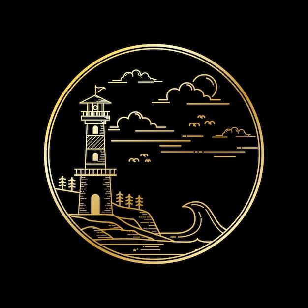 Desenho vetorial de cor dourada de farol Vetor Premium