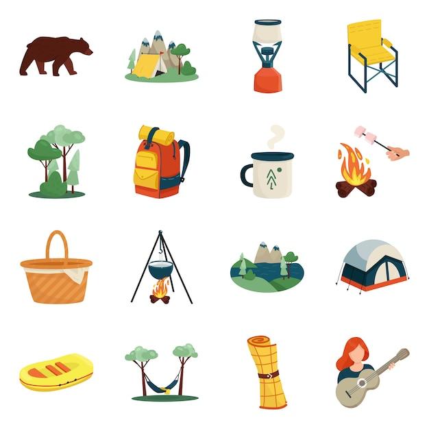 Desenho vetorial de ícone de piquenique e natureza. coleção de piquenique e símbolo de estoque de viagens para a web. Vetor Premium