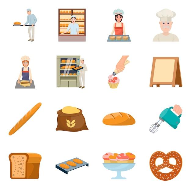 Desenho vetorial de padaria e ícone natural. coleção de conjunto de padaria e utensílios Vetor Premium
