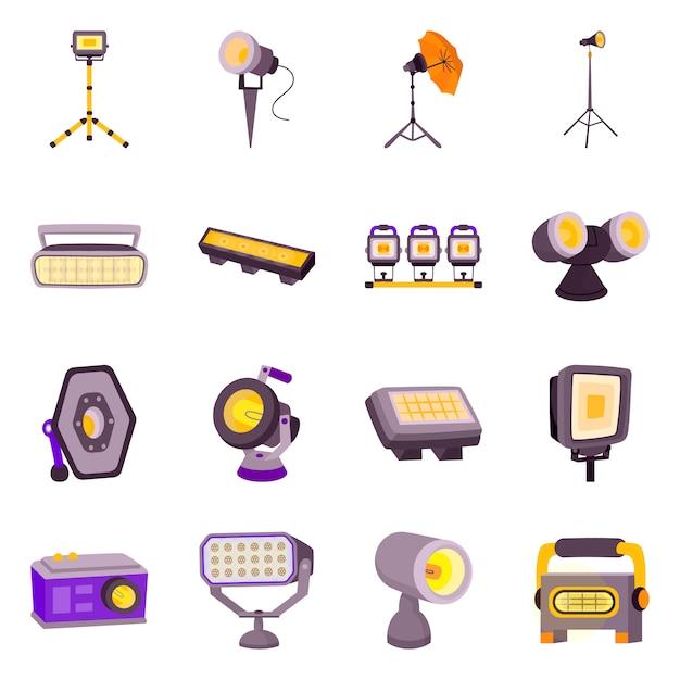 Desenho vetorial de sinal de luz e teatro. coleção de conjunto de luz e estúdio Vetor Premium