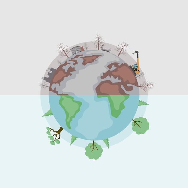 Desenho vetorial de terra dividido em poluído e verde Vetor Premium