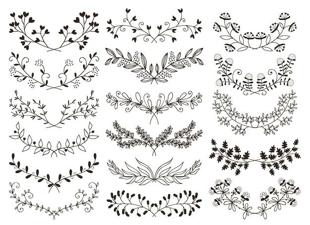 Desenho vetorial elementos gráficos florais desenhados à mão Vetor grátis