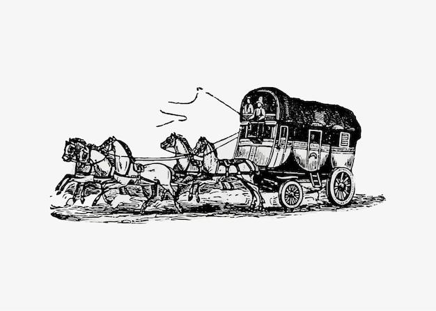 Desenho vintage de carruagem do cavalo Vetor grátis