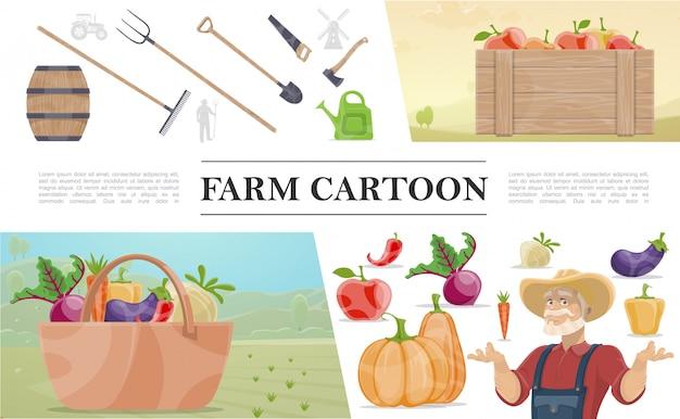 Desenhos animados agricultura composição colorida com fazendeiro barril de madeira ferramentas de trabalho manual engradado de cesta de maçãs de legumes Vetor grátis