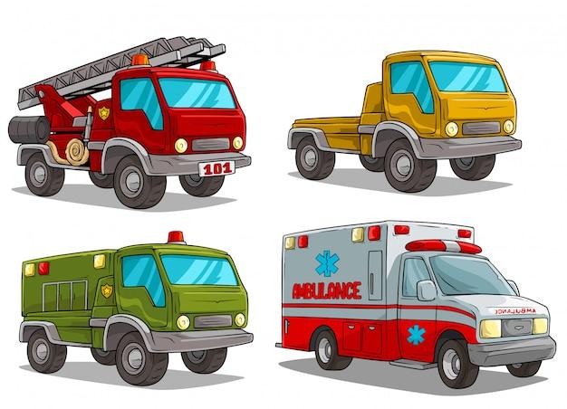 Desenhos animados ambulância bombeiros e caminhão de polícia Vetor Premium