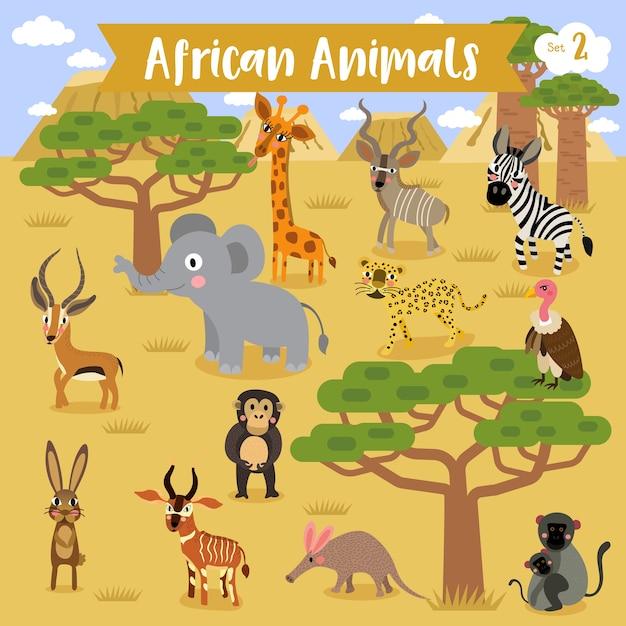 Desenhos animados animais africanos Vetor Premium
