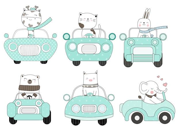 Desenhos animados animais fofos com estilo de mão desenhada de carro Vetor Premium