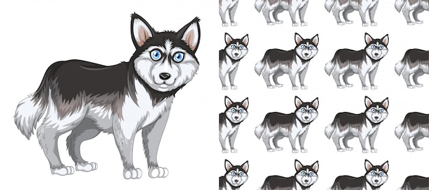 Desenhos animados animais padrão sem emenda e isolado Vetor Premium
