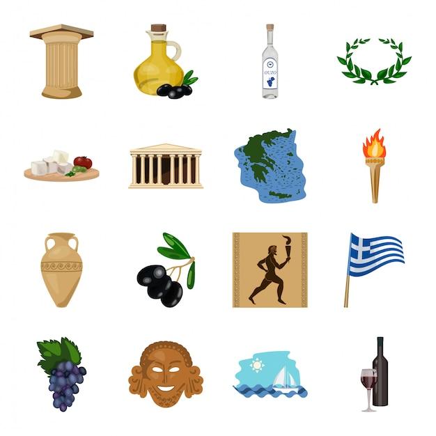 Desenhos animados antigos grécia definir ícone. ilustração grego antigo. isolado conjunto de desenhos animados ícone grécia antiga. Vetor Premium