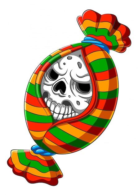 Desenhos animados assustadores da cabeça do crânio dos doces Vetor Premium