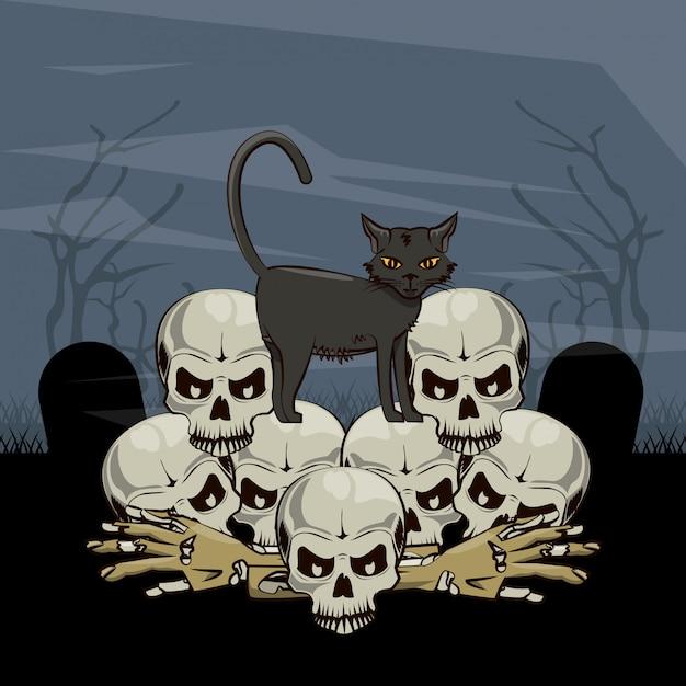 Desenhos animados assustadores de halloween Vetor Premium