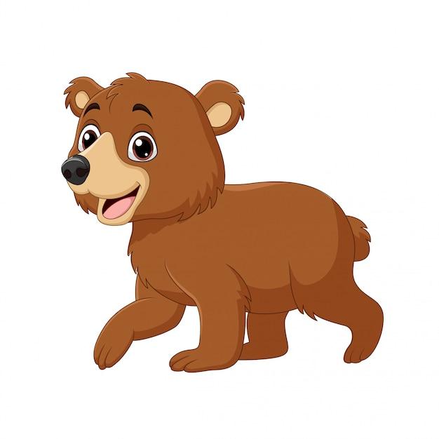 Desenhos Animados Bebe Engracado Urso Andando Vetor Premium