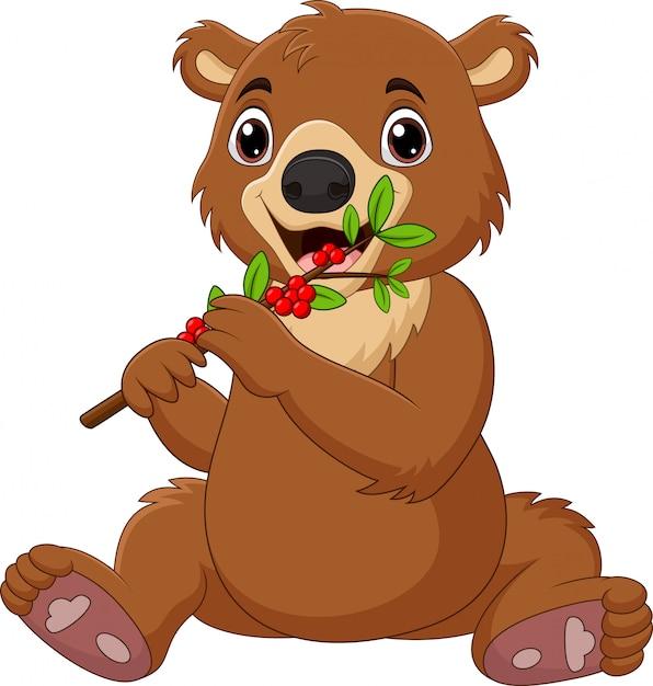Desenhos Animados Bebe Urso Marrom Com Amora Vermelha Vetor Premium