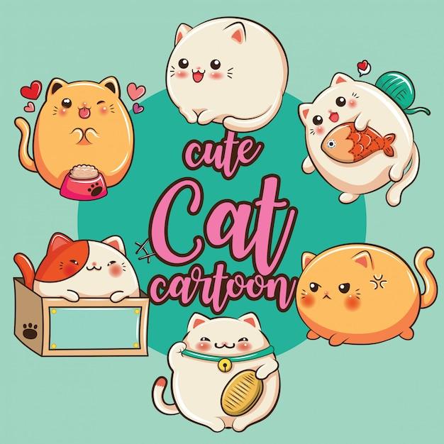 Desenhos animados bonitos ajustados do gato, conceito da loja de animais de estimação. Vetor Premium