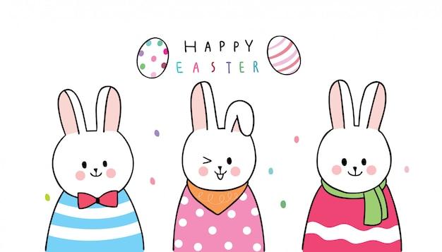 Desenhos Animados Bonitos Coelhos Do Dia De Pascoa E Ovos