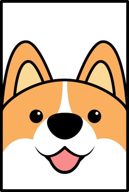 Desenhos animados bonitos da cara do cão do corgi Vetor Premium