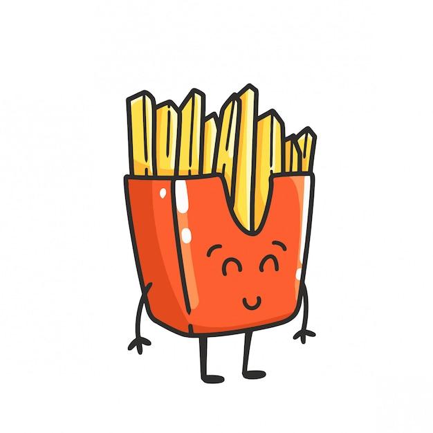 Desenhos Animados Bonitos Da Mascote Das Batatas Fritas Vetor