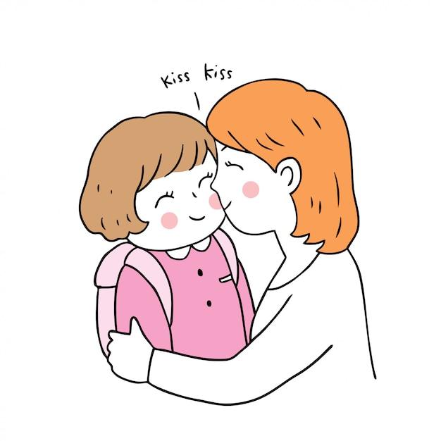 Desenhos animados bonitos de volta ao beijo da mãe e da filha da escola. Vetor Premium