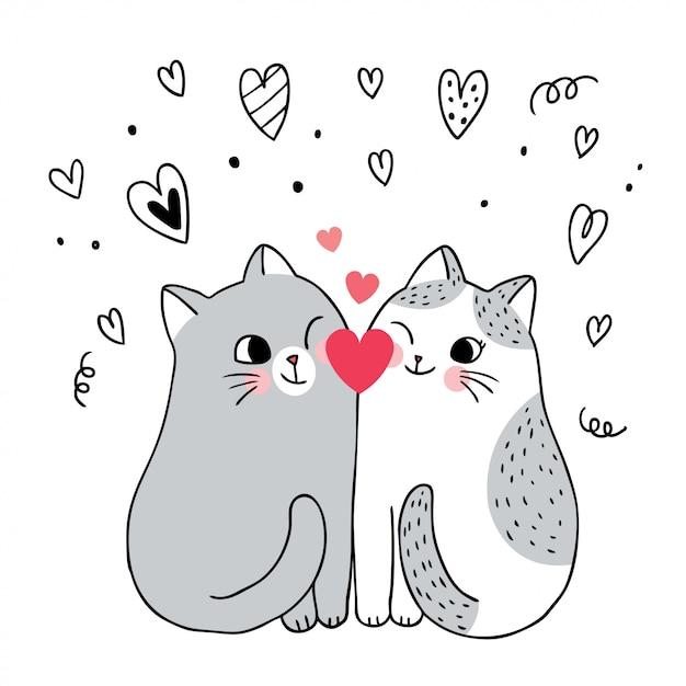 Desenhos Animados Bonitos Dia Dos Namorados Casal Gatos E Coracao