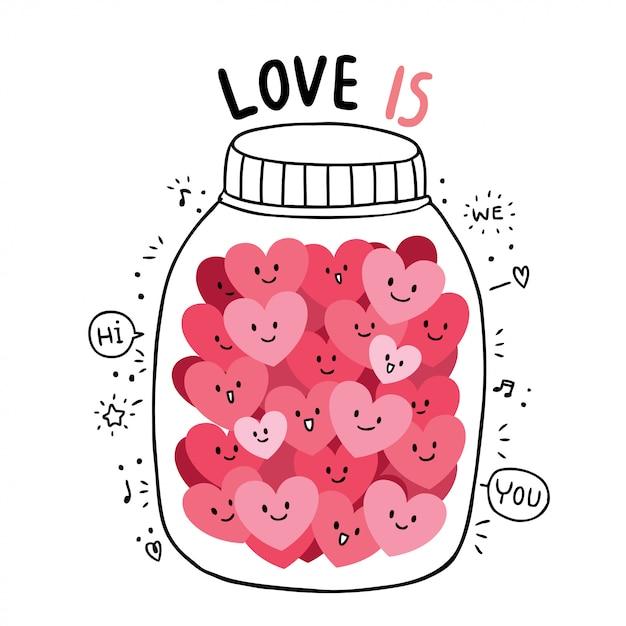 Desenhos animados bonitos dia dos namorados doodle vetor de muitos corações. Vetor Premium