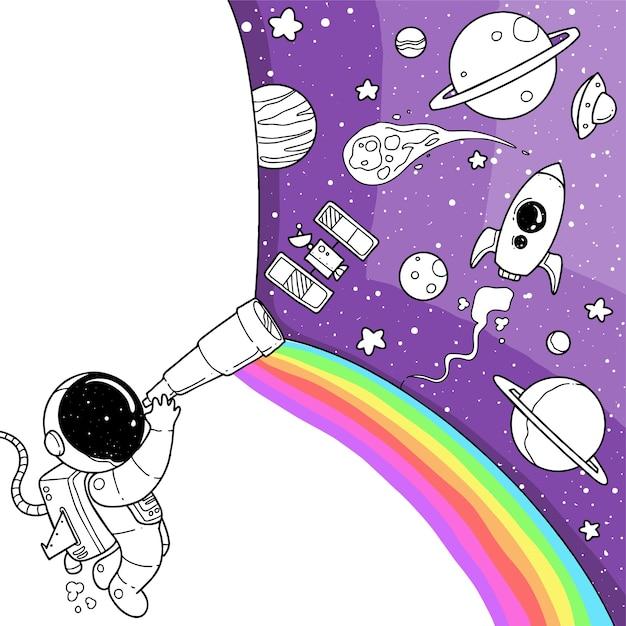 Desenhos animados bonitos do astronauta Vetor Premium