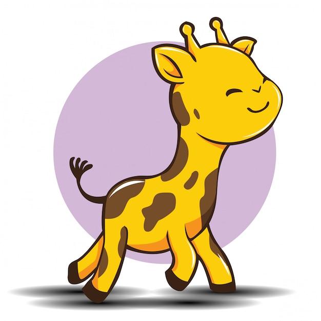 Desenhos animados bonitos do girafa, conceito animal bonito. Vetor Premium