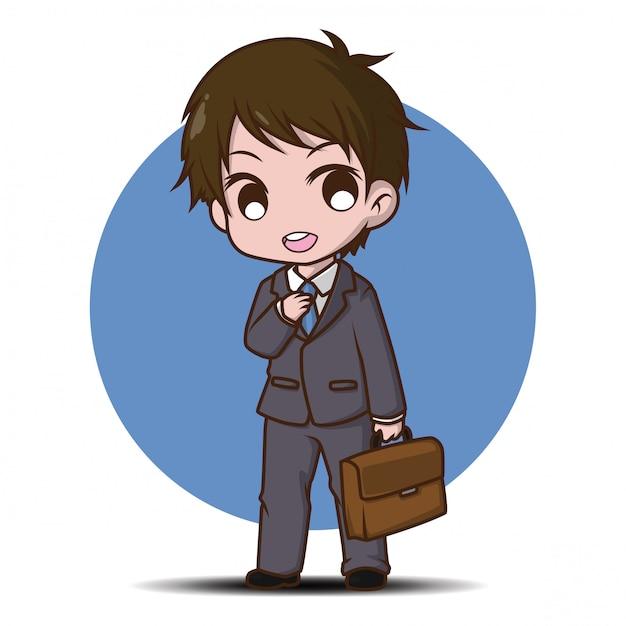 Desenhos animados bonitos do homem de negócio, conceito de trabalho. Vetor Premium