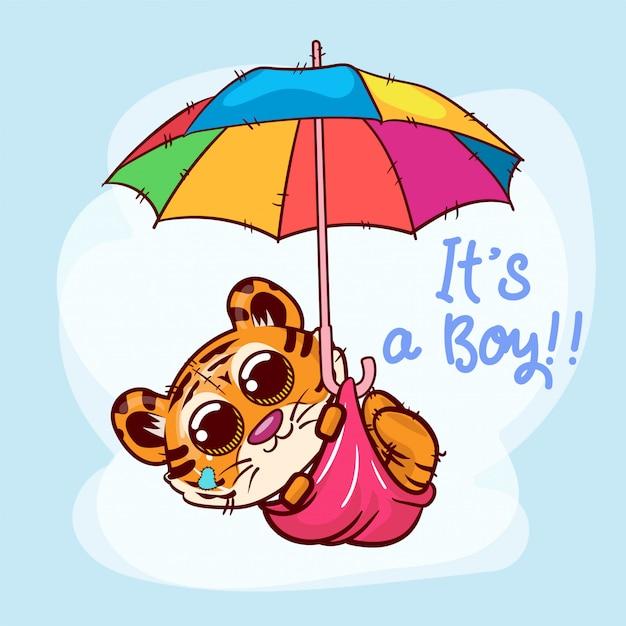 Desenhos animados bonitos do tigre que voam com guarda-chuva. vetor Vetor Premium