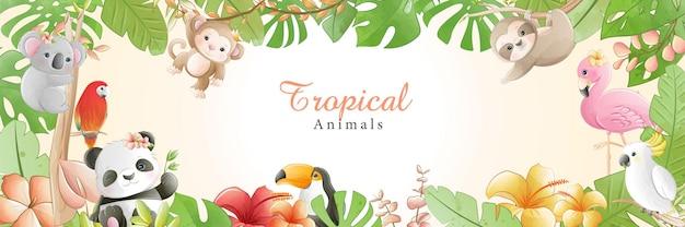 Desenhos animados bonitos em aquarela pequenos animais tropicais com flores Vetor Premium