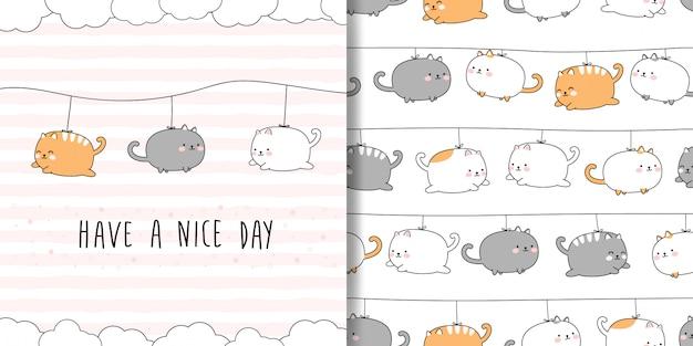 Desenhos animados bonitos gato gordinho doodle sem costura padrão e capa de cartão Vetor Premium
