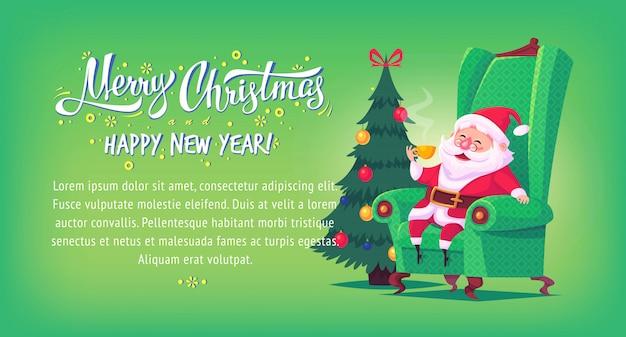 Desenhos animados bonitos papai noel que senta-se na cadeira que bebe a bandeira horizontal da ilustração do feliz natal do chá. Vetor Premium