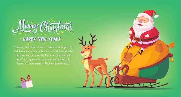 Desenhos animados bonitos papai noel que senta-se no trenó com a bandeira horizontal da ilustração do feliz natal da rena. Vetor Premium