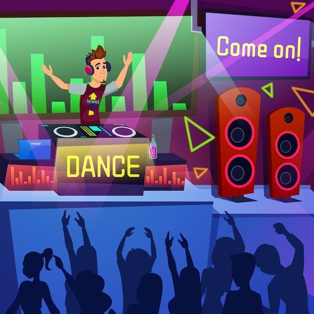 Desenhos animados brilhantes da dança do partido do desempenho do inseto. fim de semana de abertura no summer terrace dance club. Vetor Premium