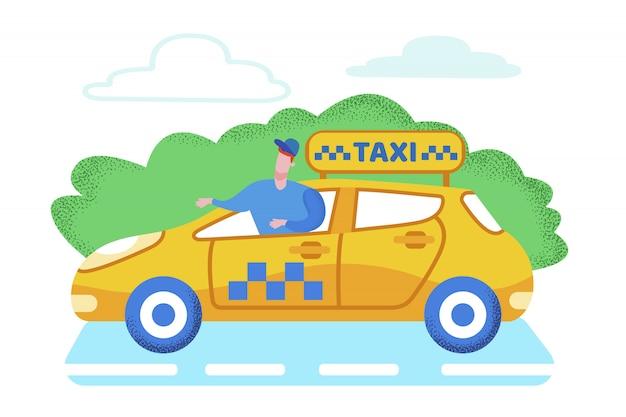 Desenhos animados brilhantes do serviço de passageiro do táxi da bandeira. Vetor Premium