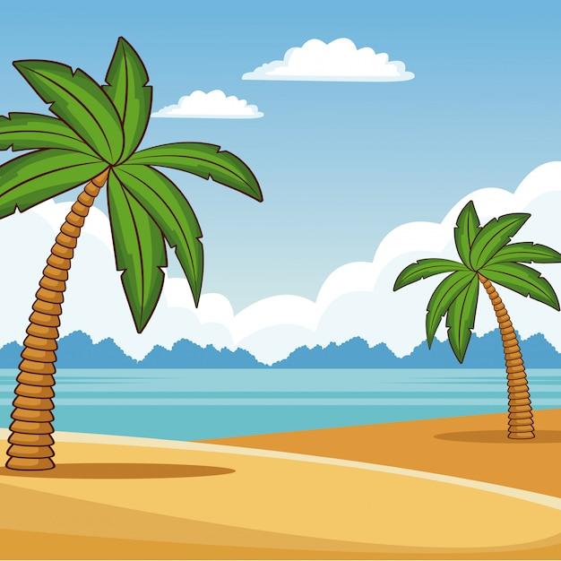 Desenhos Animados Coloridos Da Paisagem Bonita Da Praia Vetor