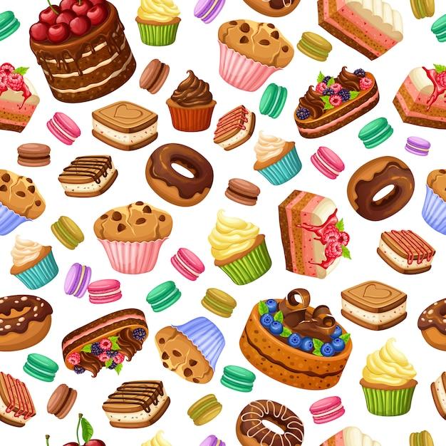 Desenhos animados coloridos sobremesas sem costura padrão Vetor grátis