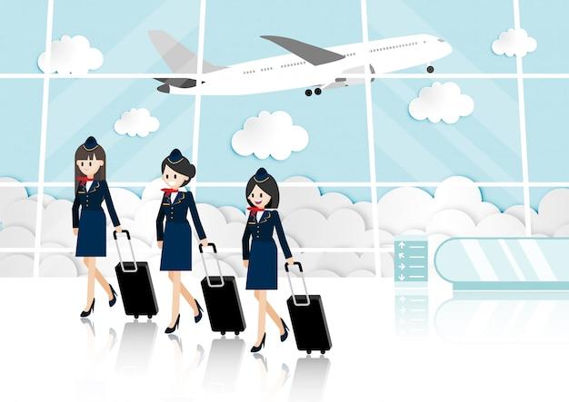 Desenhos animados com sala de passageiros no terminal do aeroporto e aeromoça bonita Vetor Premium
