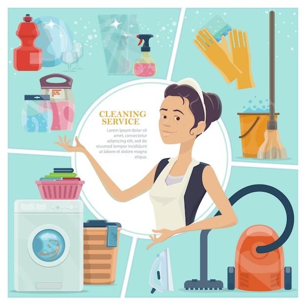 Desenhos animados conceito colorido de serviço de limpeza com luvas de empregada balde de água, ferro, prato limpo, vidros, detergente, pó spray Vetor grátis