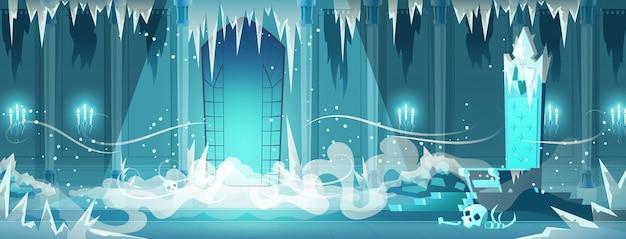 Desenhos animados congelados da sala do trono do castelo inoperante Vetor grátis